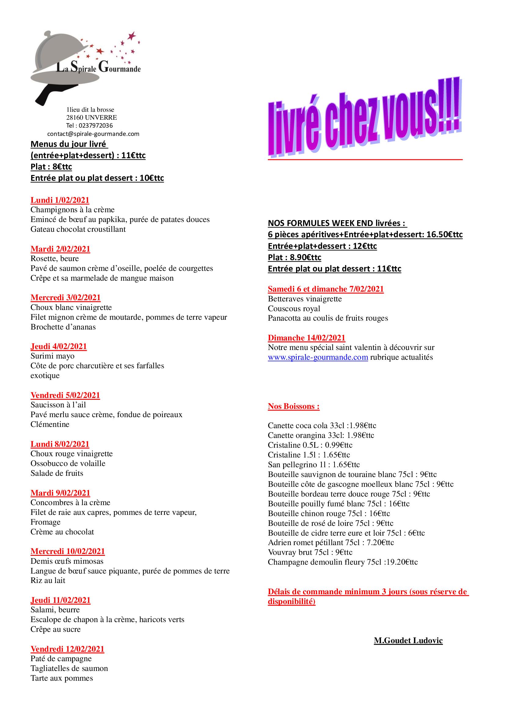 menus semaine 5 et 6