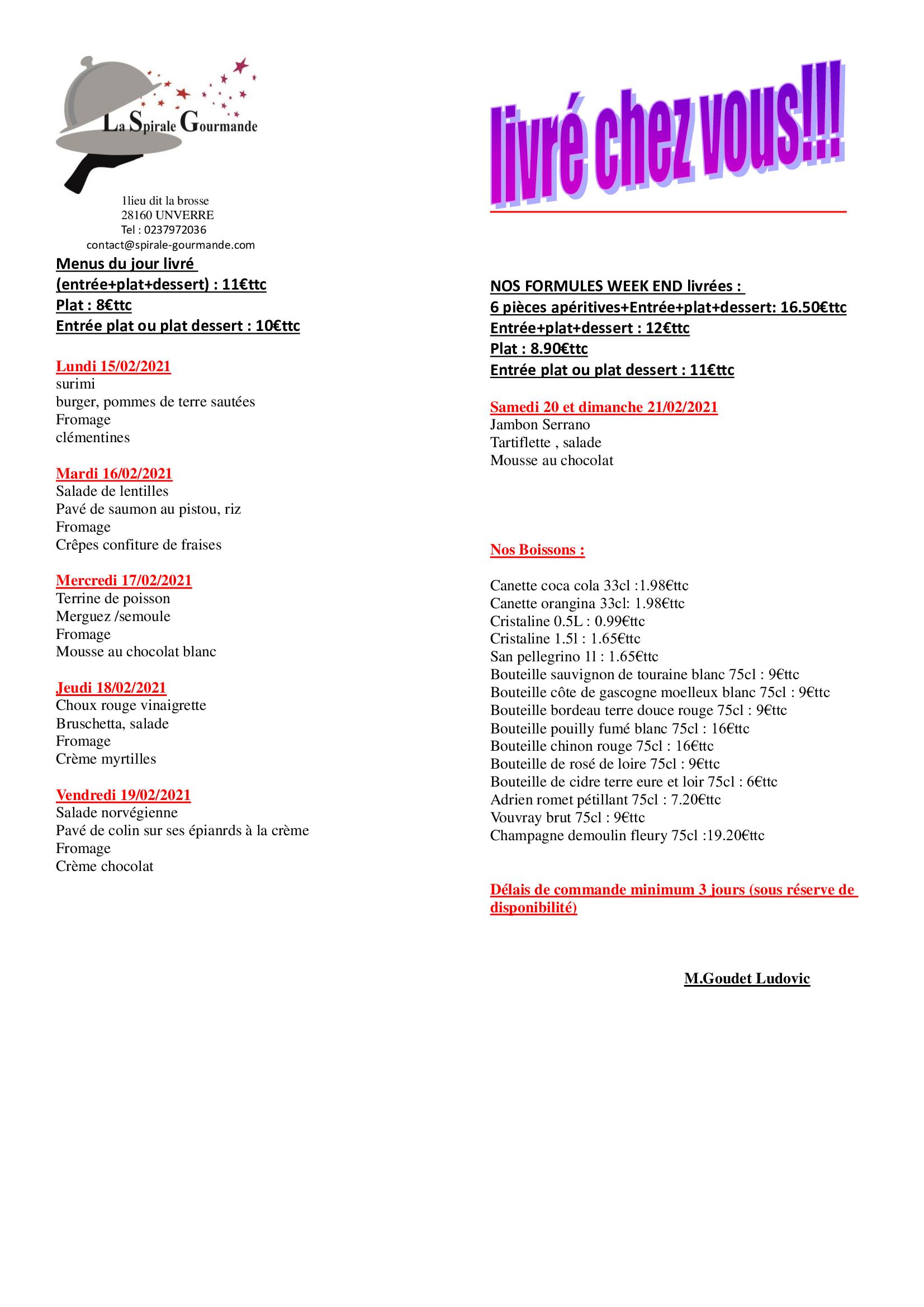 menu semaine 7
