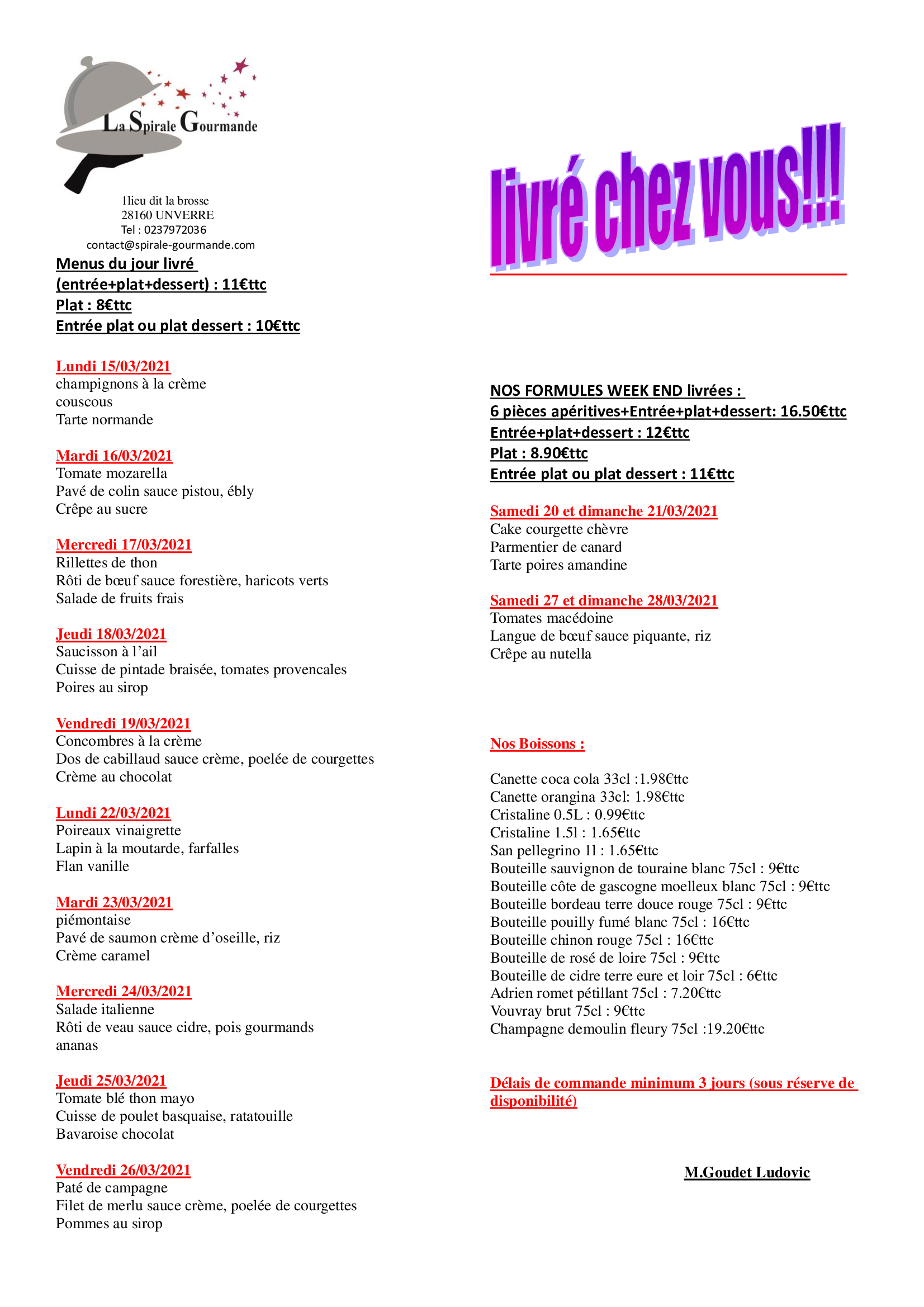 menu semaine 11 et 12