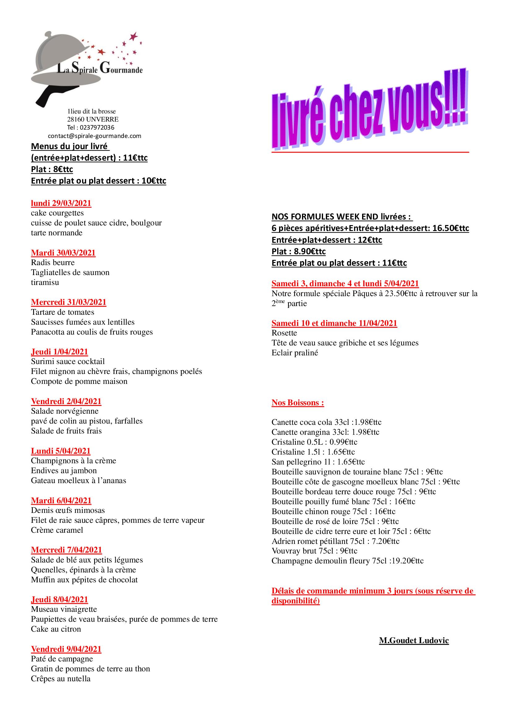 menus semaine 13 et 14