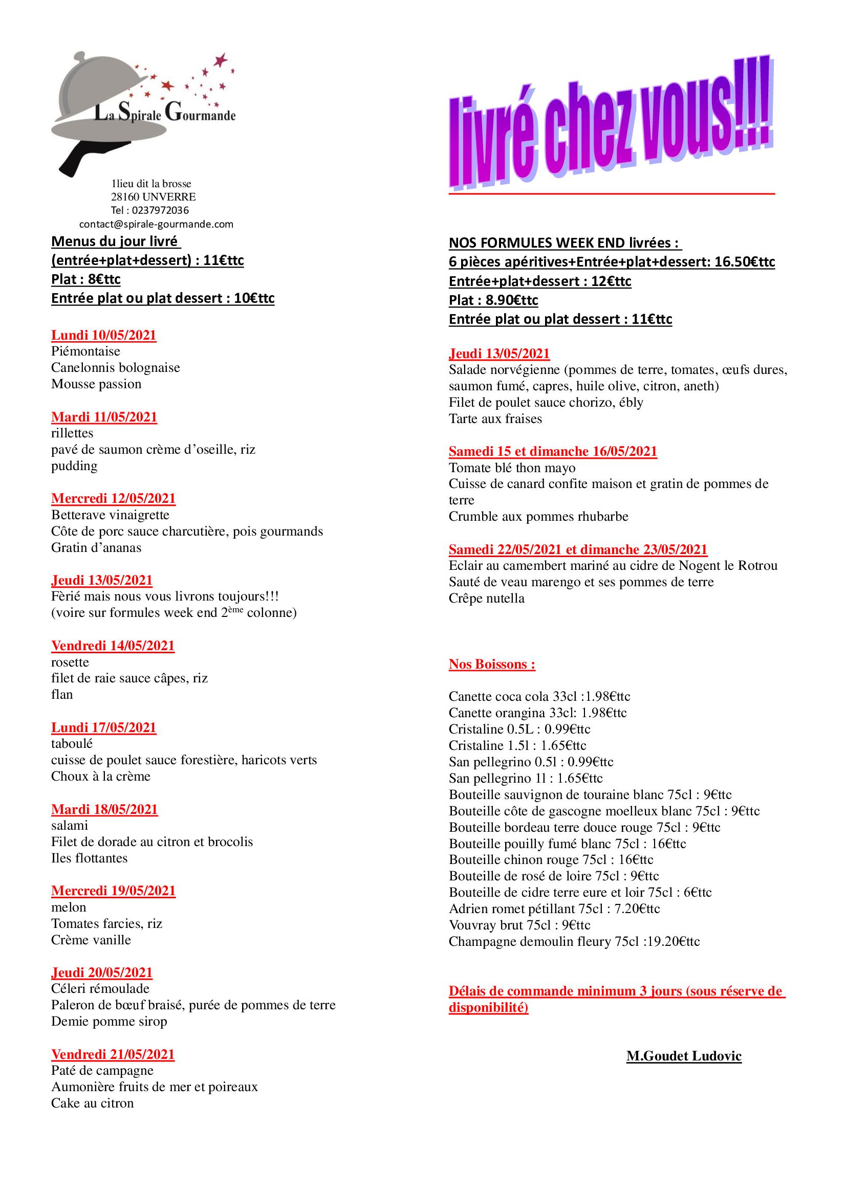 menus semaine 19 et 20