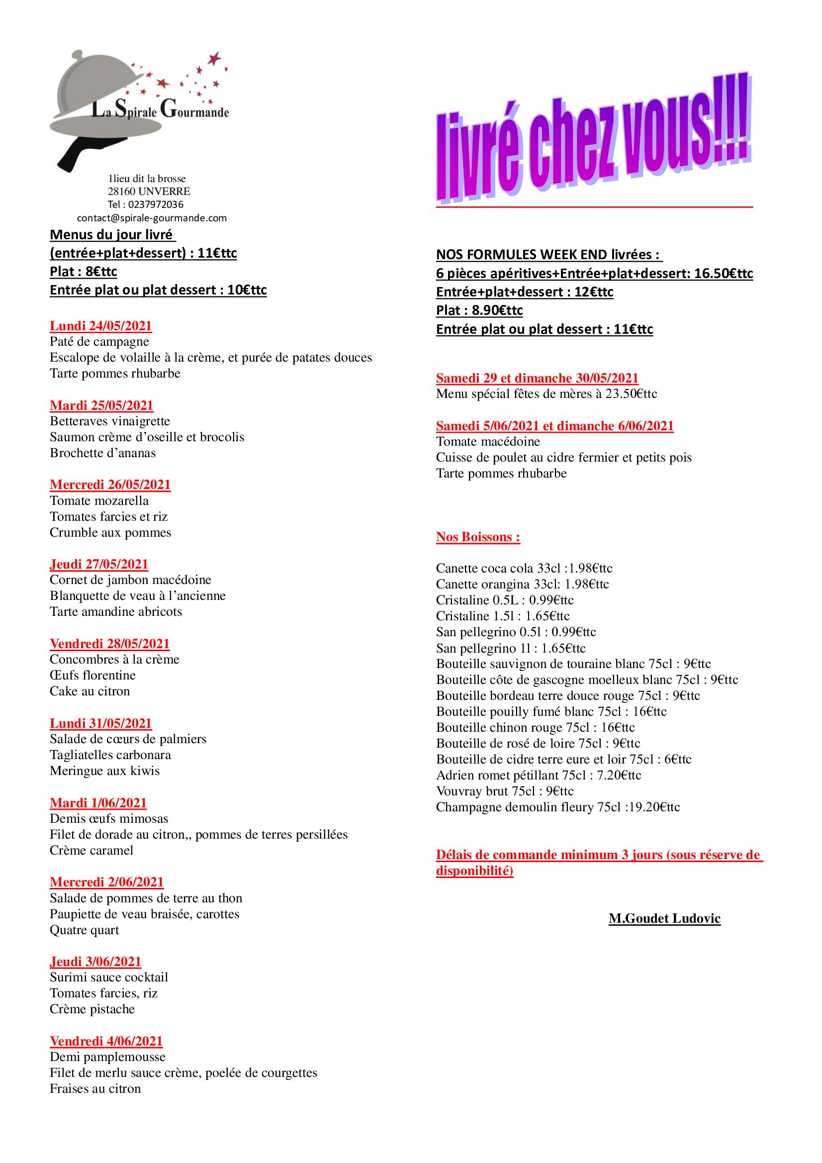 menus semaine 20 et 21